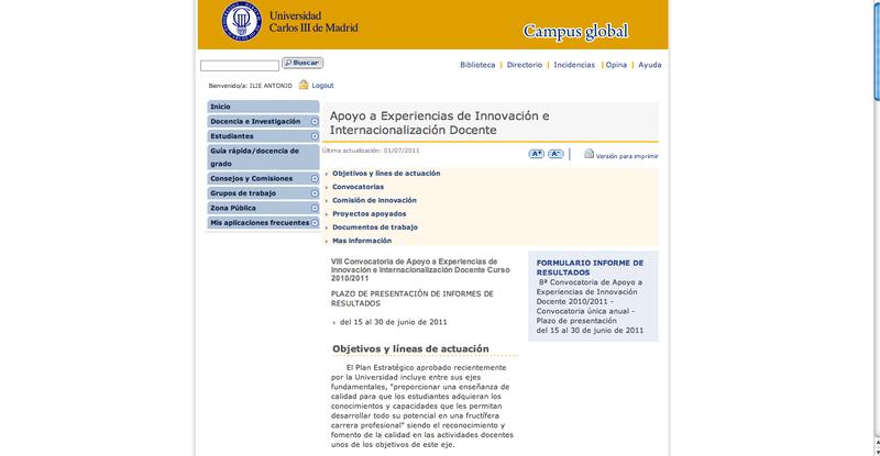 Pagina principal Apoyo ...uc3m
